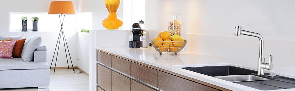 HOMELODY Grifo de cocina extraíble 2 Funciones 360° Giratorio ...
