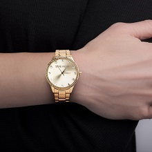 gold round watch watches steve madden fashion gift women crystal round dial metal strap link classy