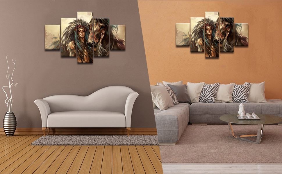 Ancient Native American Indian Chief Wall Art Vintage Historic Painting Mystic Pictures