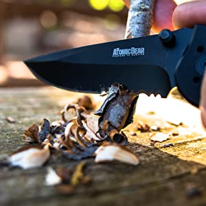 tactical knife folding knife pocket knife linerlock atomic bear hunting camping fishing outdoor edc