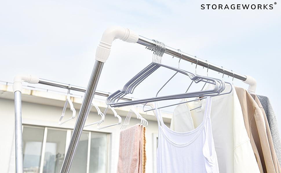 ハンガー 洗濯物ハンガー 滑らないハンガー すべらない スチール クロムメッキ 防錆加工 乾湿両用 クローゼット 衣類ラック 服 キャミソール スカート ストール 型崩れ防止 肩 耐荷重 セット