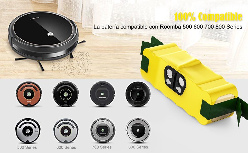 YABER Batería para iRobot Roomba 4500mAh Ni-MH Bateria Compatible con iRobot Roomba Series 550 620 630 650 770 500 600 700 800: Amazon.es: Hogar