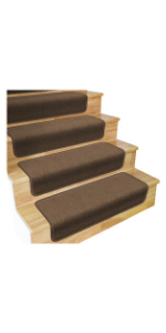 Skid Resistant Overstep Stair Treads House Home and More Toffee Brown
