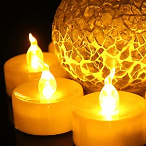 Battery Powered Warm Yellow Electric Tealights & Realistic Fake candles