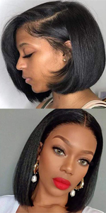 13x4 Short Bob Human Hair Wigs For Black Women Lace Frontal Wig Pre plucked with Baby Hair