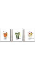 """Mojito Cocktails Kitchen Picture Set of 3 (8""""X10"""" Canvas Picture),No Frame"""