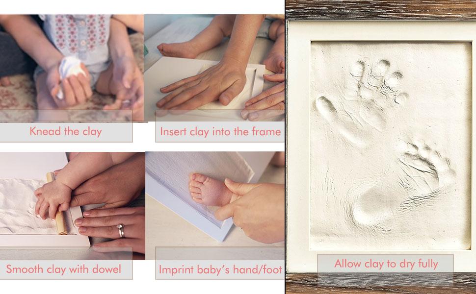 Newborn baby handprint picture frame set.