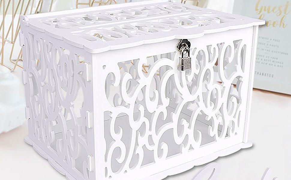 white wedding cardbox