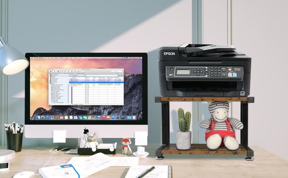 Amazon De Oropy Holzerner Druckerstander 2 Stufiger Schreibtisch Organizer Fur Drucker Fax