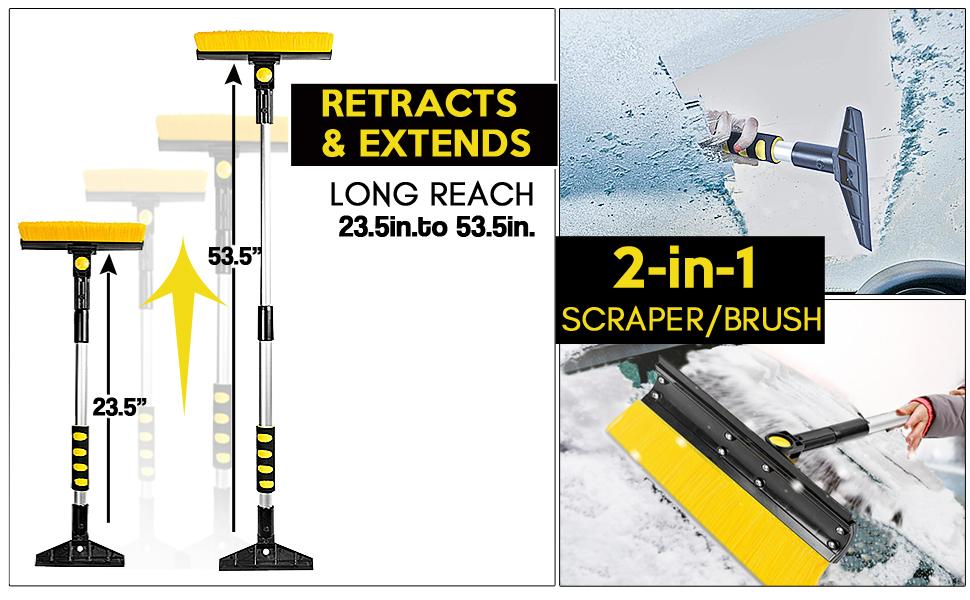 2 in 1 snow car brush and scraper