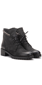 Vintage Foundry Co. Olga Women's Combat Black Leather Laced Ankle Boot