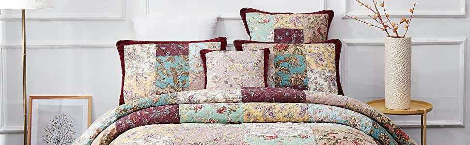 thin lightweight colorful patchwork floral paisley garden quilted coverlet bedspread set burgundy