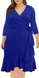 plus size 3/4 sleeve Women Work Faux Wrap Dress