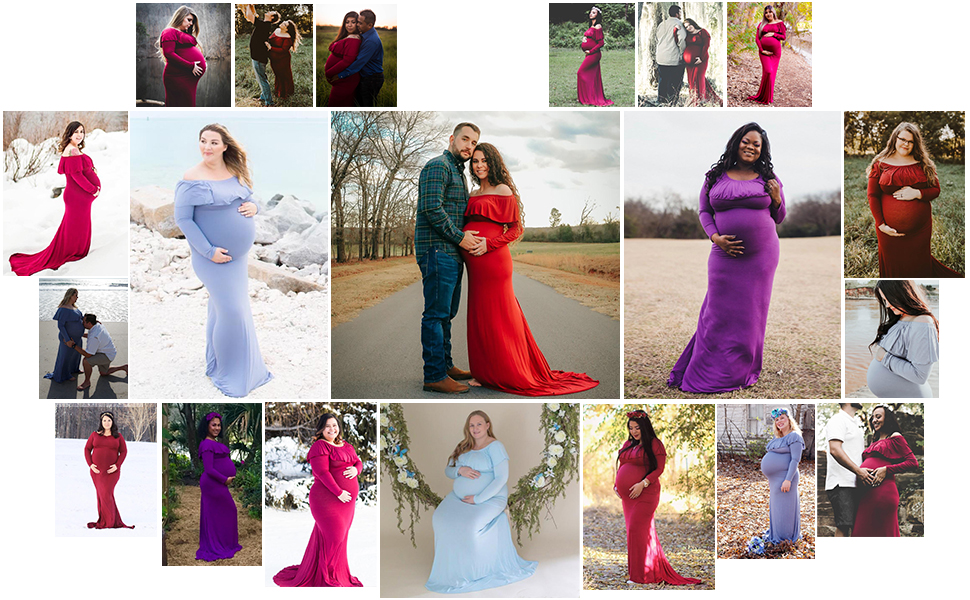 burgundy maternity dress for photography