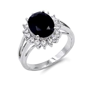 Lavencious Oval Shaped w.CZ  Party Rings in Black