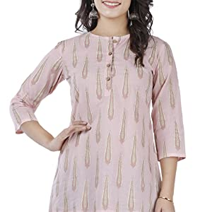 SIDDHANAM Trendy Cotton Printed Pink Gold Casual wear top
