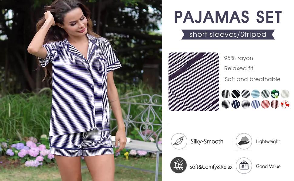 Pajamas for Women Short Sleeve Sleepwear Soft PJ Set Loungewear S-XL Two Piece Pajama Set