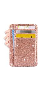 rose gold glitter slim card holder