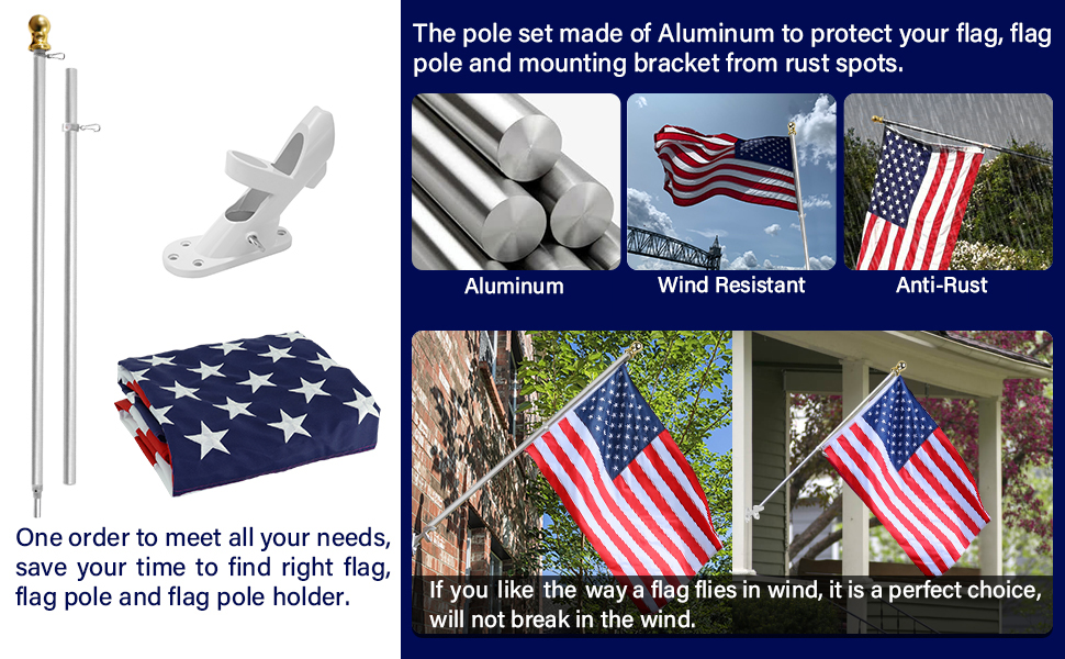 Amazon Com Jetlifee 3x5 Feet American Flag With Pole Including 100 Polyester Us Flag 6 Ft Aluminum No Tangle Spinning Pole And 2 Position Flag Pole Bracket Garden Outdoor