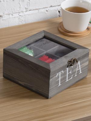 vintage grey wood 4-compartment tea bag storage box chest