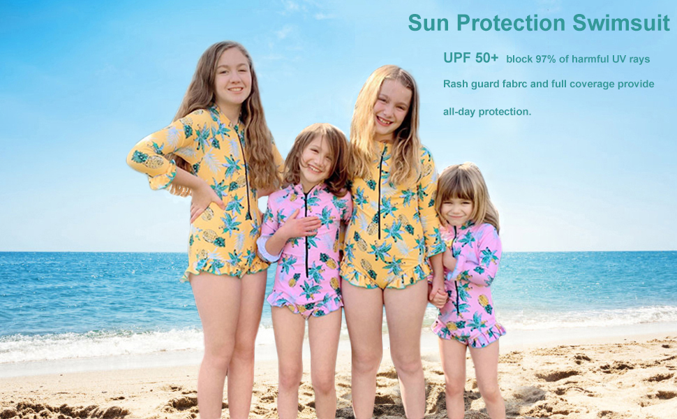 Junior Girls Rashguard Bathing Suit,One Piece Swimsuit Pineapple Printed Beachwear