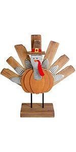 Thanksgiving Turkey Decoration, Wooden Indoor Standing Tabletop Turkey Decor