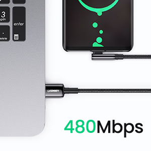 UGREEN USB C Cable 5A Super Fast Charging Cable Type-C Fast Charging Braided Cord 90 Degree