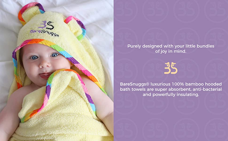 BareSnuggs Thick hooded bamboo baby towel