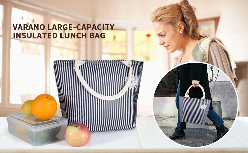 Stylish lunch bags for women | Varano Large Capacity Insulated Lunch Bag