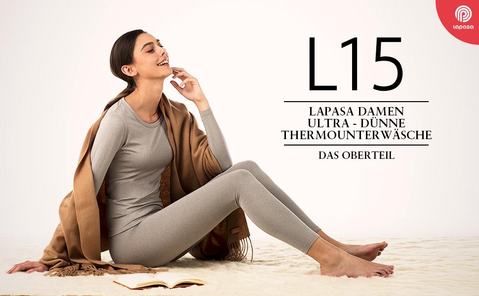 Leicht Warm Thermohemd Schwarz LAPASA Damen Thermoshirt Innenfleece V6, Medium Thermo Oberteil Langarmshirt Thermounterw/äsche L15 MEHRWEG Nur Oben 1 Pack