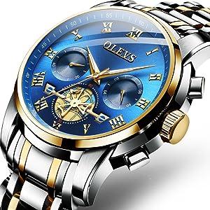 olevs watch men chronograph luxury blue luxury brand functional working gift best