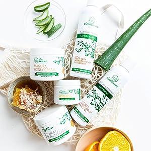 Wild Naturals Products containing Organic Aloe Vera, Manuka Honey, Vitamin C