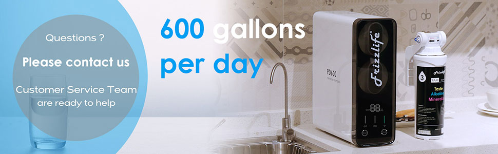 1.5:1 Drain Ratio Tankless Compact RO System with Stainless Steel Faucet 600 GPD Fast Flow Frizzlife PD600 Reverse Osmosis Under Sink Water Filtration System with Alkaline Remineralization