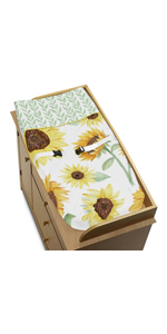 Yellow, Green and White Sunflower Boho Floral Girl Baby Nursery Changing Pad Cover