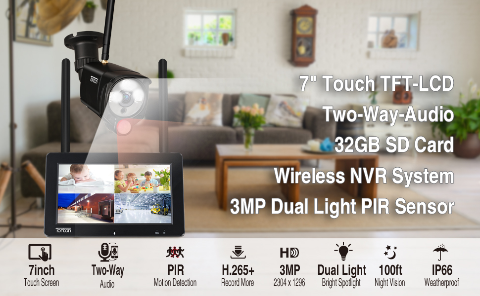 7inch monitor 4CH NVR with 1PCS 3MP Cameras and 32GB SD Card