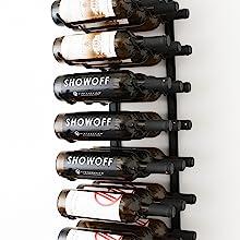 metal wine rack, case storage for wine, bottle depth, wine storage, wall mounted wine racks