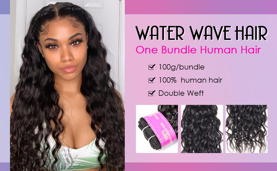 one bundle water wave hair