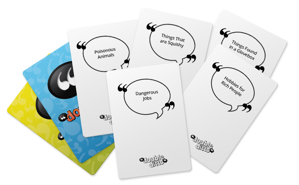 double ditto cards, categories, teen game, teen board game, teen games, games for teens