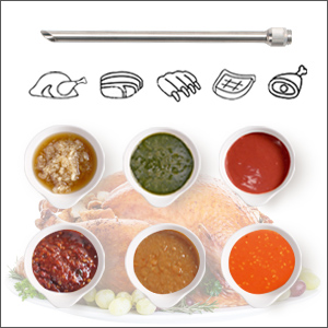 angled-cut needle for solids marinade
