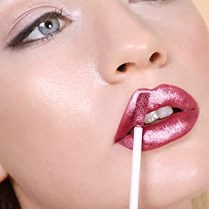 hot pink metallic liquid lipstick high shine long wear all day no fade or feather