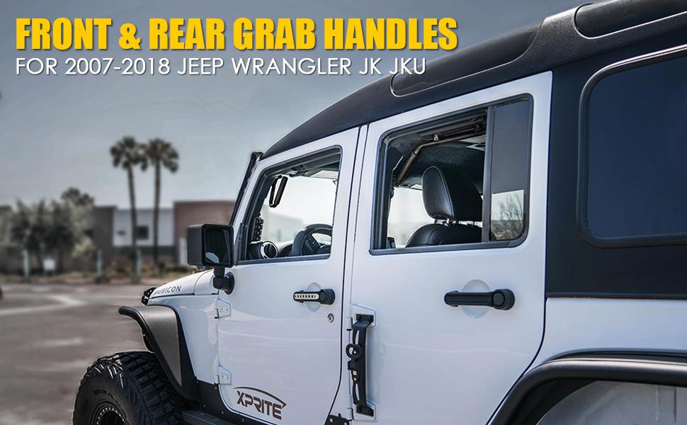 Bolaxin Matte Black Front /& Rear Grab Handle Grip Bar Kit for 07-18 Jeep Wrangler JK JKU Sahara Sport Rubicon X /& Unlimited 4 Door Silver Handles