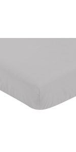 Sweet Jojo Designs Solid Grey Unisex Boy or Girl Baby or Toddler Nursery Fitted Crib Sheet