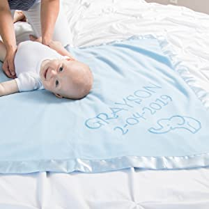 Baby on customized baby blanket