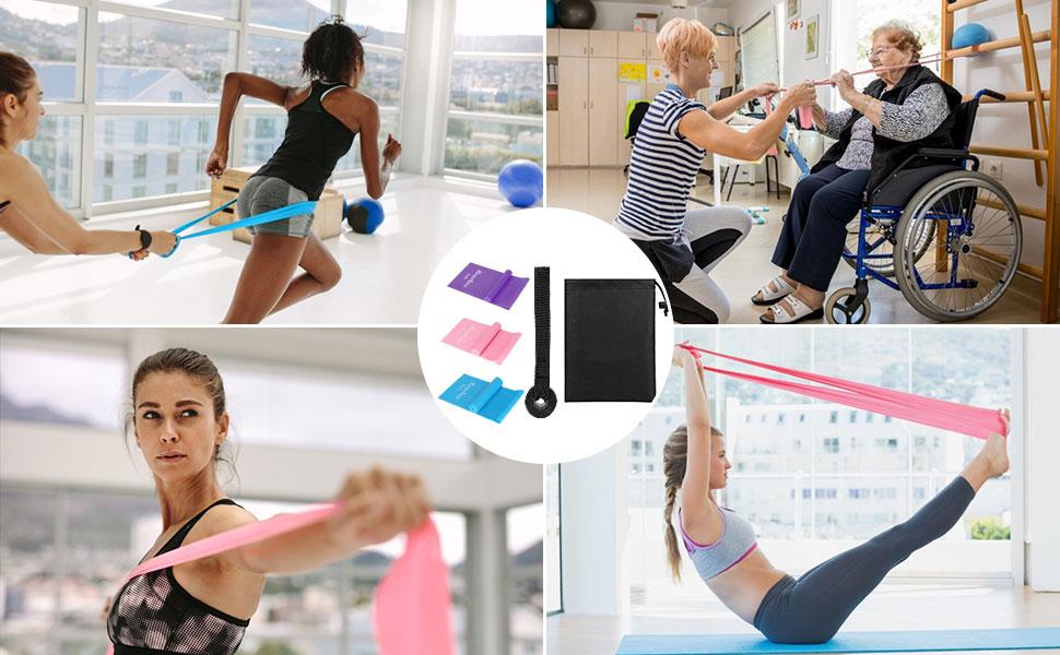 Bearbro Bandas Elasticas Fitness, Piezas Bandas de Resistencia con 3 Niveles, Cintas Elasticas Fitness para Yoga, Pilates, Crossfit, Estiramientos, ...