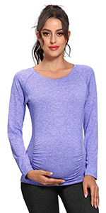 Maternity Workout Tops Dry Fit Long Sleeve Athletic Yoga Tops Pregancy Shirt