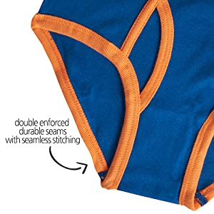 double enforced durable seams with seamless stitching on boys underwear briefs toddlers kids