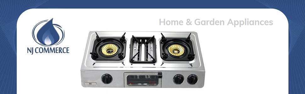 NJ GC-87 – Placa de cocción a gas, con 2 quemadores, parrilla y horno, superficie de acero inoxidable, para uso al aire libre