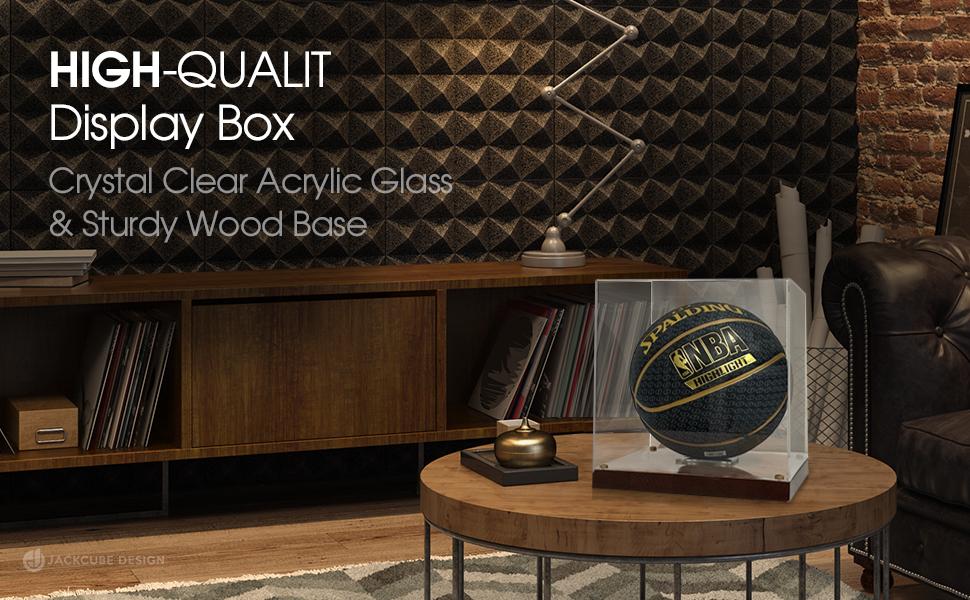 high quality display box crystal clear acrylic case and sturdy wood base