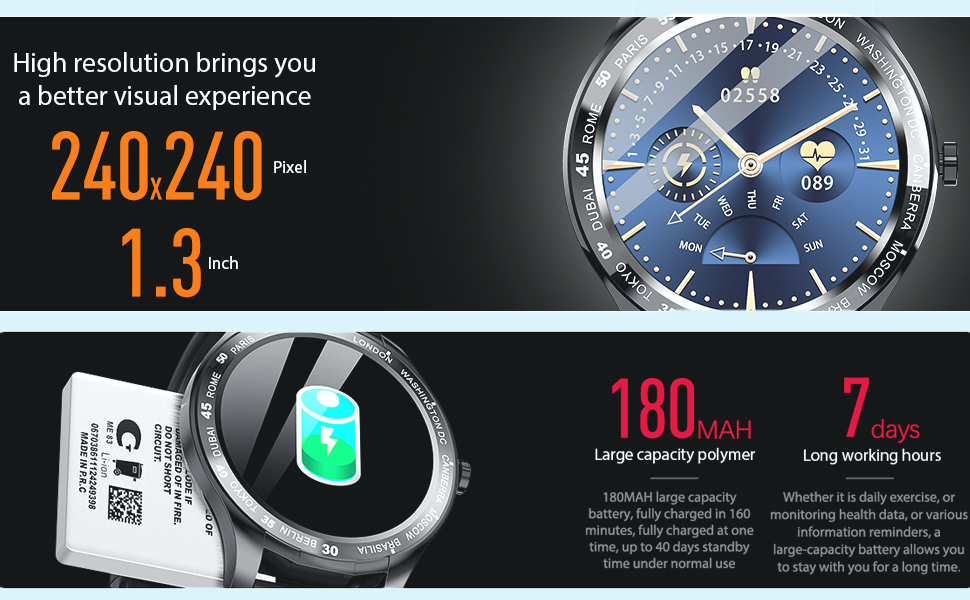 smartwatch for iphone android  Smart Watch, Fitness Tracker with Heart Rate Monitor, IP68 Waterproof Smartwatch 1.3″ Touch Screen, Activity Tracker Step Counter Sleep Monitor Message Call Pedometer for Women and Men b9ea6e29 ed0f 454e a9ed 00c350239e5d