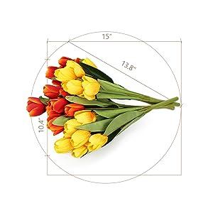 Snailgarden 4 Strauße 36 Köpfe Künstliche Tulpen Blumen Seide Kunstblumen Tulpen Strauß